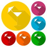 Martini glass icons set with long shadow Stock Photos