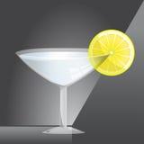 Martini glass with lemon. Liquid in martini glass with lemon Vector Illustration