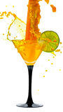 Martini glass with lime and a splash Stock Photo