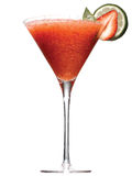 Martini glass, lime, strawberry Royalty Free Stock Photo