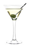 Martini glass and olive. Vector hand picture. A very detailed drawing. The vector original glass is transparent. Сan be used on any background, looks especially Stock Images