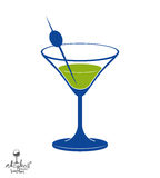 Martini glass with olive berry, alcohol and entertainment theme. Illustration. Party lifestyle graphic goblet isolated Stock Photo