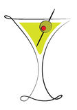 Martini Glass with Olive Stock Images