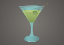 Martini glass with olive illustration Royalty Free Stock Images