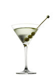 Martini glass with olive isolated  on white Royalty Free Stock Photos