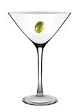 Martini glass with olive isolated on white. Vector. Royalty Free Stock Image
