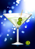 Martini glass with olives internet background Stock Image