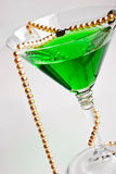 Martini glass with pearl beads Stock Image