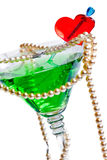 Martini glass with pearl beads Stock Images
