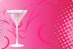 Martini glass on pink halftone background. With swirl design Royalty Free Stock Image