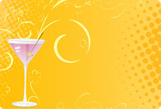 Martini glass on pink halftone background Stock Photography