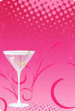 Martini glass on pink halftone background Royalty Free Stock Photo