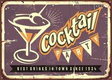 Martini glass on purple background. Cocktail party retro sign board idea Stock Photo