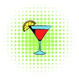 Martini glass with red cocktail icon, comics style. Martini glass with red cocktail icon in comics style on a white background vector illustration