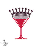Martini glass with royal crown, stylized goblet. Royalty Free Stock Photo