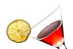 Martini in glass and slice of lime Stock Image