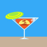 Martini Glass Tropical Vacation Palm Tree Ocean Stock Photos