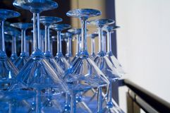 Martini glasses. Image of martini glasses on the edge of the bar Royalty Free Stock Photography