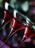 Martini glasses. In front of the night lights Stock Photography