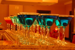 Martini Glasses. Cocktails as welcome drinks in Martini Glasses Stock Images