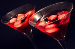 Martini glasses. Two martini glasses with iced cocktail stock photo