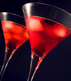 Martini glasses. Two martini glasses with iced cocktail stock images