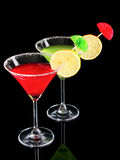 Martini glasses on black Stock Photography
