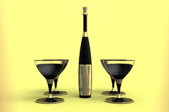 Martini glasses and bottle with gold label. Stock Photography