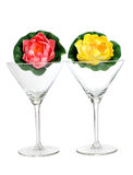 Martini glasses and flower Stock Photography
