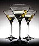 Martini Glasses with Olives Stock Photography