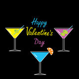 Martini glasses set on black background. Happy Val Royalty Free Stock Images