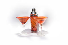Martini glasses and shaker Royalty Free Stock Photos