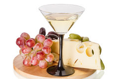 Martini with grapes and cheese Royalty Free Stock Images