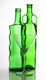 Martini green bottle and glasses Royalty Free Stock Photo