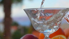 Martini hälls in i ett exponeringsglas på en bakgrund av citrusfrukter lager videofilmer