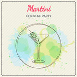 Martini. Hand drawn vector illustration of cocktail. Colorful watercolor background Stock Photo