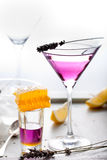 Martini, lavender, honey, lemon cocktail on a white background. Vermouth. Stock Photos