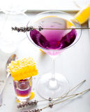 Martini, lavender, honey, lemon cocktail on a white background. Vermouth. Royalty Free Stock Photo