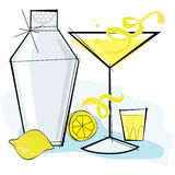 Martini lemondrop styl retro ilustracji