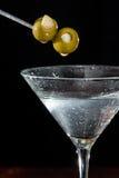 Martini med oliv Fotografering för Bildbyråer