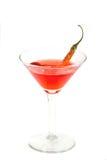 Martini met een rode Spaanse peper Stock Afbeeldingen