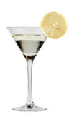 Martini mit einer Zitrone Stockfotografie