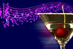 Martini with music notes! Royalty Free Stock Photos