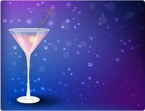 Martini on night background. Glass of pink martini on night stars blue background Royalty Free Illustration