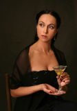 Martini with an olive Royalty Free Stock Photo