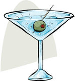 Martini with Olive Stock Image