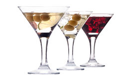 Martini with olive and ice set  Royalty Free Stock Image