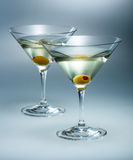 Martini with olive. Vermouth cocktail isolated Royalty Free Stock Photography