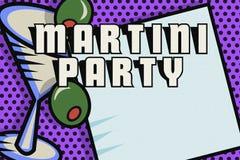 Martini Party Invitation Card Pop Art Logo. Martini Cocktail Party Invitation Card Pop Art Logo Vodka Gin Olive Glass Retro Vintage vector illustration