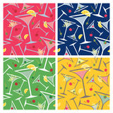 Martini Pattern. With popular garnishes in four colorways repeats seamlessly. Tiles are on separate layers and colors grouped for easy editing and no Royalty Free Stock Images
